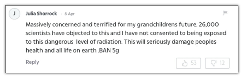 Published:  A comment on  The Sun's  coverage of 5g regarding radiation
