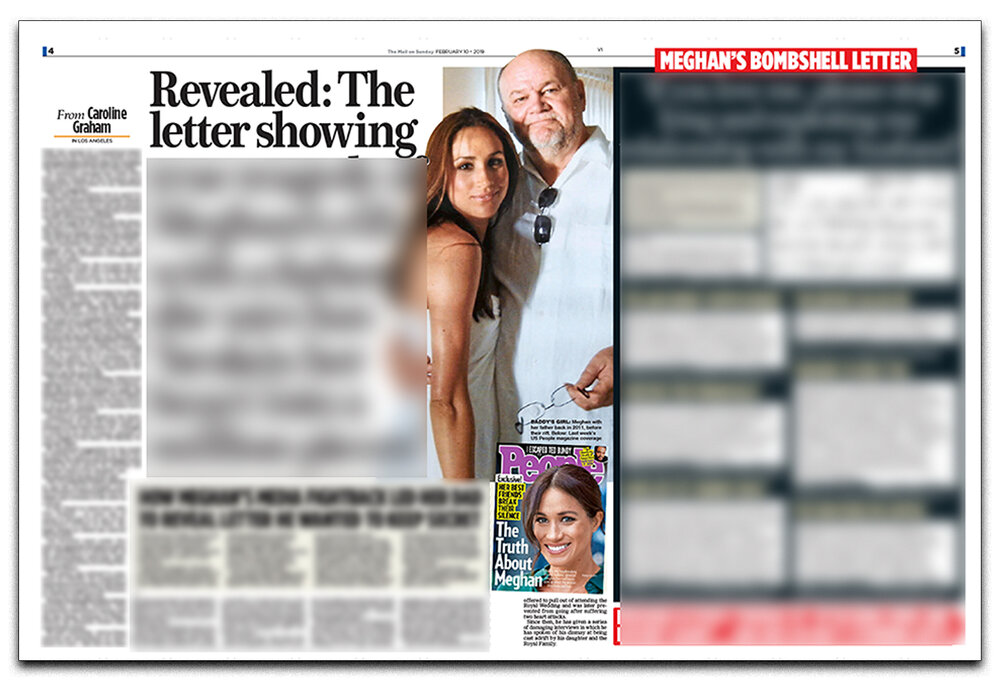 Offending article : The  Mail on Sunday's  coverage of the Duchess of Sussex's letter provoked a lawsuit