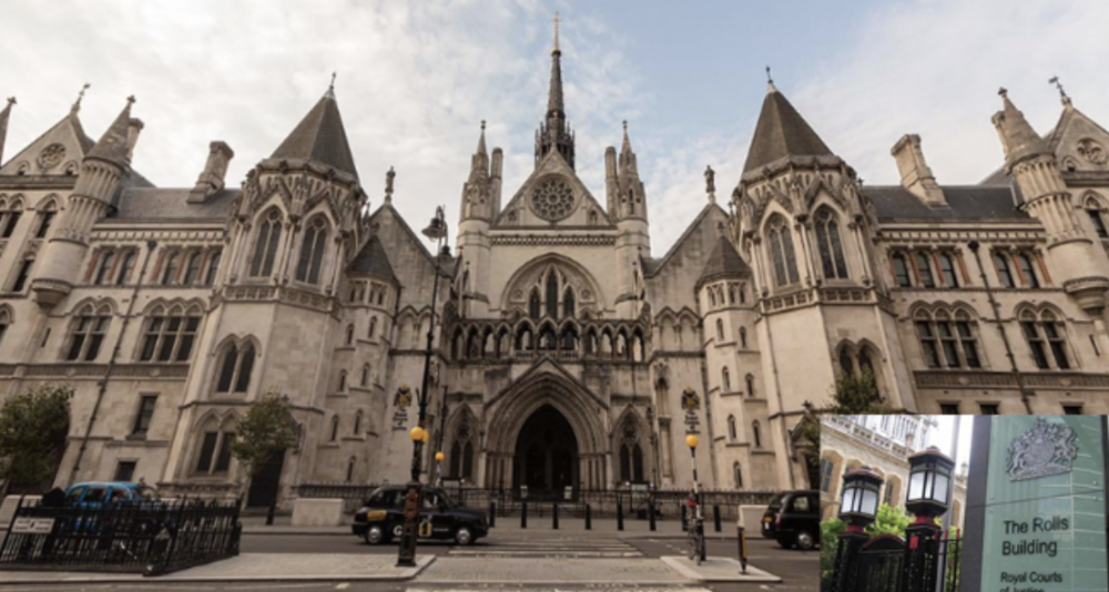The Royal Courts of Justice in London, and inset the Rolls Building, where the Duke's case will be heard (c) PA