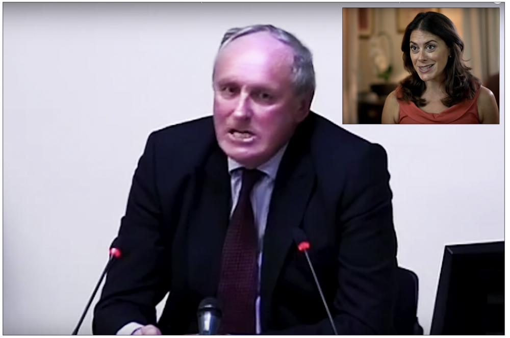 Vehement: Paul Dacre strenuously denying hacking happened at his papers to the Leveson Inquiry in 2012 (inset) Katie Nicholl addresses the camera as a royal pundit