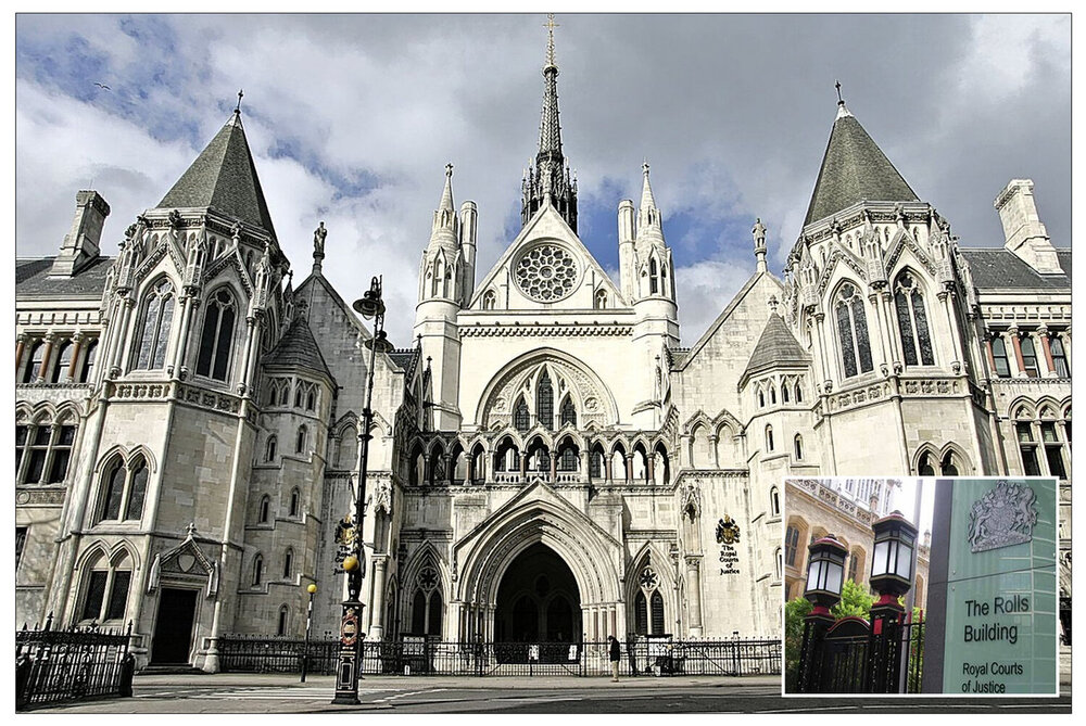 The Royal Courts of Justice in London and (inset) The Rolls Building, where phone hacking litigation involving The Sun's publisher News UK is taking place. (This file is licensed under the  Creative Commons   CC0 1.0 )