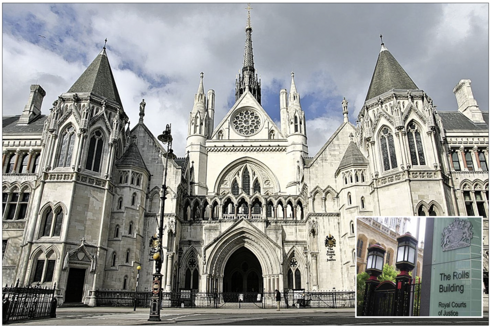Royal Courts of Justice  (inset The Rolls building where Ms May's legal action has been filed)
