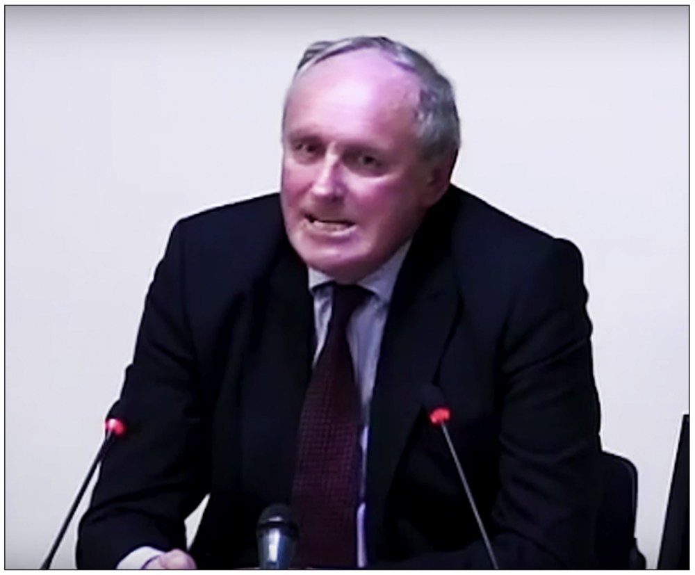 Vehement:  Paul Dacre offering sworn testimony to the Leveson Inquiry in 2012