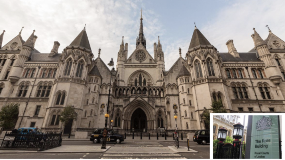 Royal Courts and (inset) The Rolls Building, where the Royal revelation emerged at court 31 today