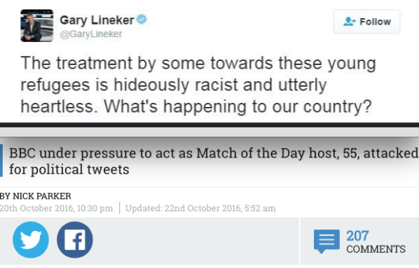 Fake news: Sun coverage of Lineker Tweet replaces 'some' with 'anyone'