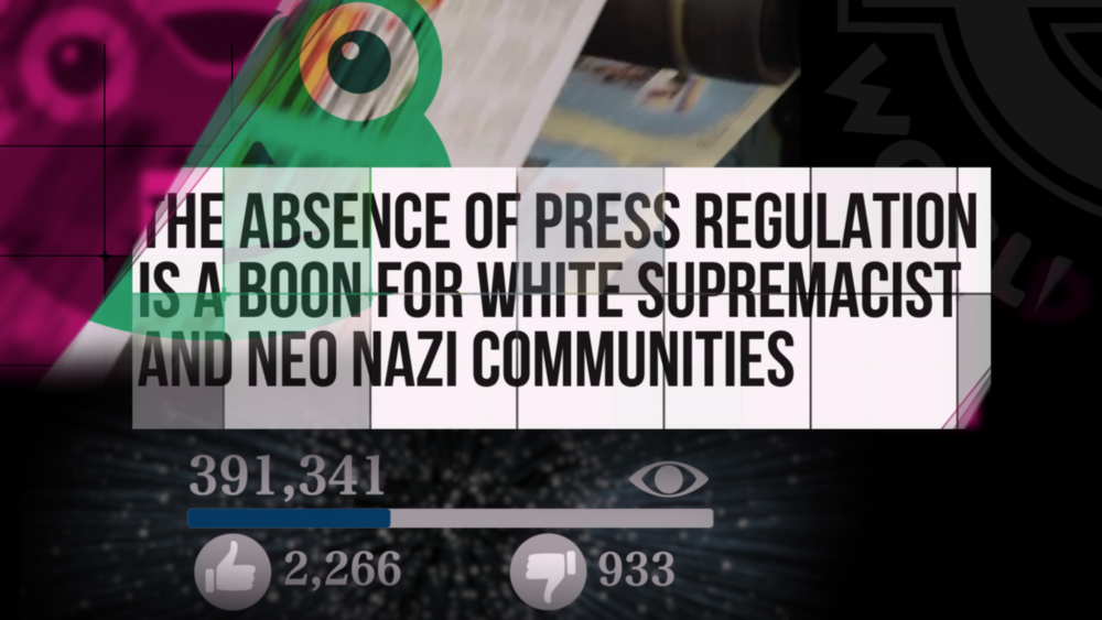 """Still taken from the Hacked Off Report,  """"White Supremacism, The Press and the Absence of Regulation"""" Promotional Video  (Hacked Off)"""