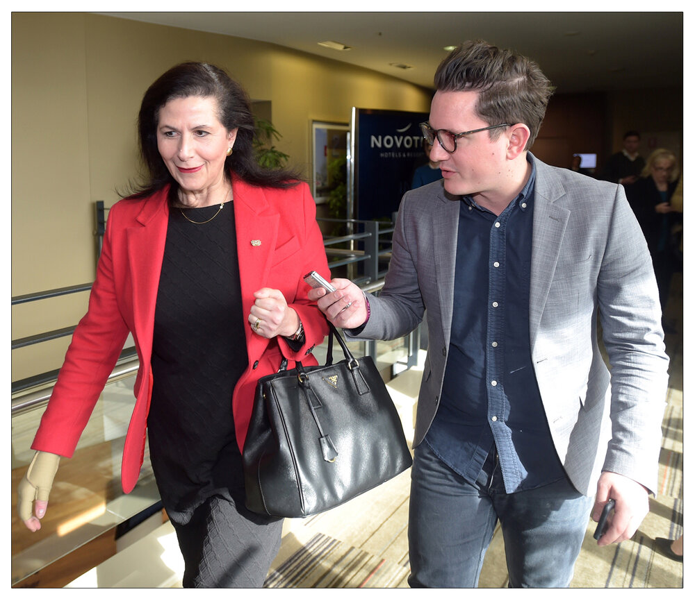 Zoom in : FT journalist Mark Di Stefano pictured here in his old job working for Buzzfeed speaking to Senator Concetta Fierravanti-Wells at the Coalition Campaign Launch in Sydney, Sunday, June 26, 2016 (AAP Image/Lukas Coch)