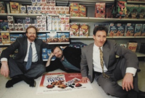 Richard Rebh, left, George Rebh, and Fred Potok in 1999. Their in-store advertising company, FloorGraphics, ran up against Rupert Murdoch's media empire