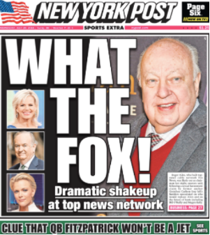 What Ailes you Roger? Loss-leading New York Post splashes on Fox News scandal