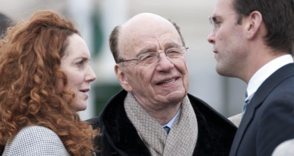 'Opportunity': Mrs Brooks and Rupert and James Murdoch. Credit: Rex Features