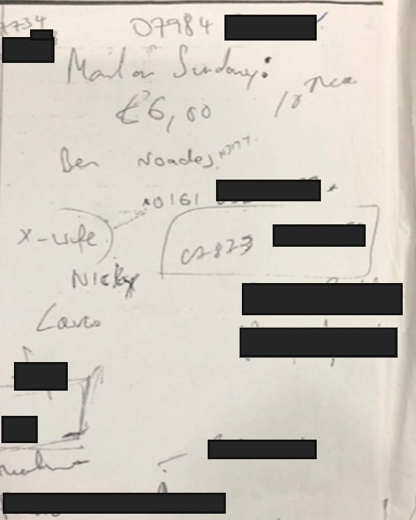 Evidence: Glenn Mulcaire's hand-written Mail on Sunday work note