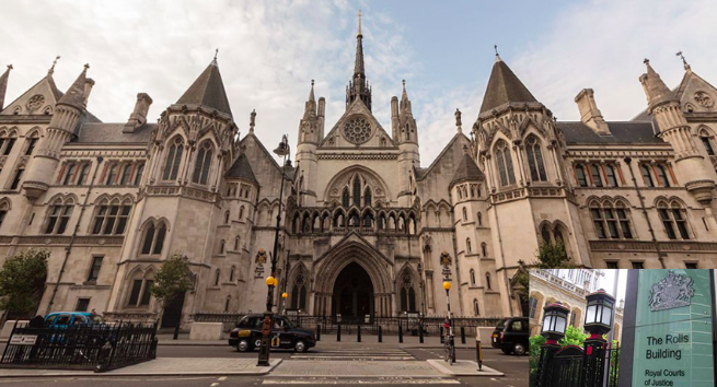 The High Court in London (inset, the Rolls Building). (c) PA