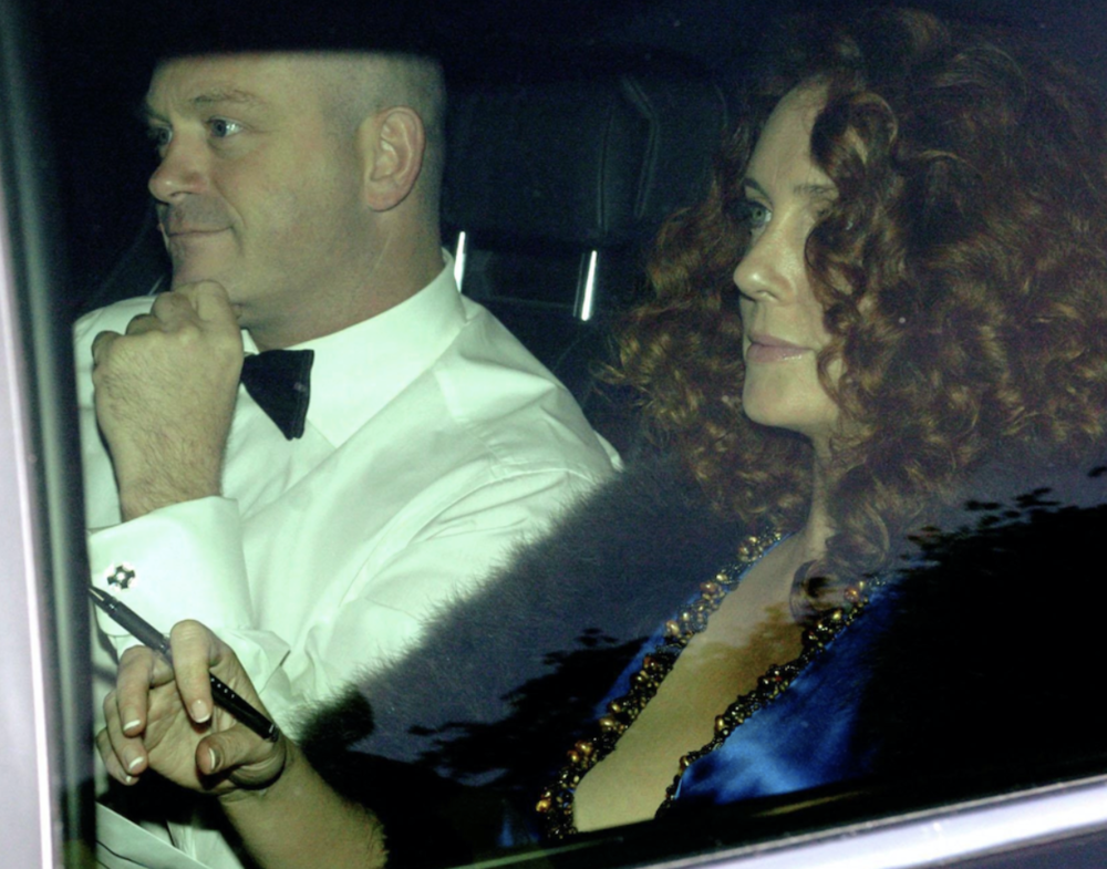 High rollers: TV hardman Ross Kemp on a glamorous date with a bejewelled Brooks, holding a pen.