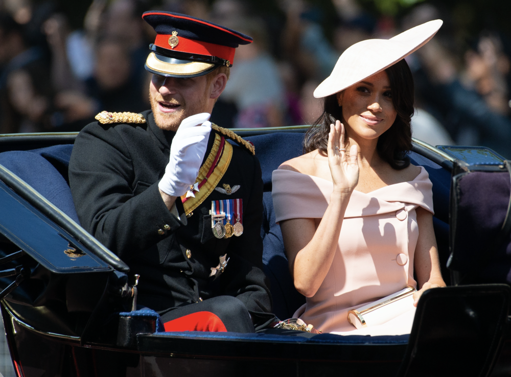 The Prince with then wife to be Meghan Markle in June 2018 at the Trooping of the Colour. (C) Ray Tang/Zuma Press/PA Images