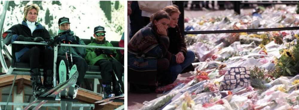 Family and tragedy: (l) Diana with her sons William and Harry on a skiing trip . (r) Mourners outside Kensington Palace in 1997. (c) PA
