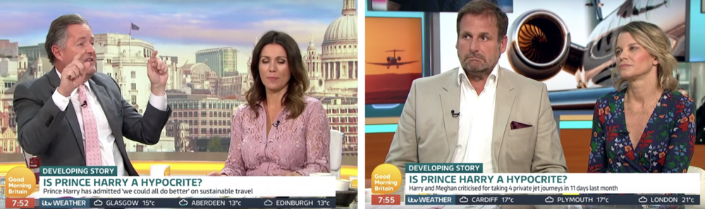 Critical: Royal 'watcher' Larcombe (r) is a regular guest with Piers Morgan (l) on ITV's Good Morning Britain