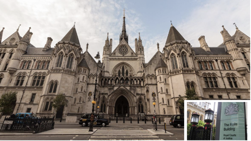 Royal Courts of Justice, London (inset The Rolls Building) (c) PA