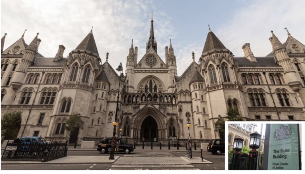 The Royal Courts of Justice (inset, the Rolls Building)