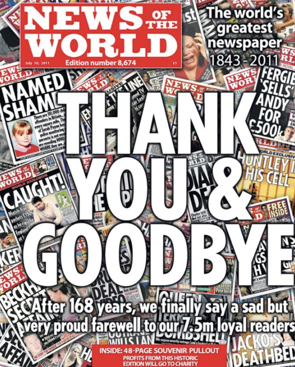 Defunct: once the biggest selling paper in the English language, the NotW closed in disgrace in 2011 as the phone hacking scandal erupted