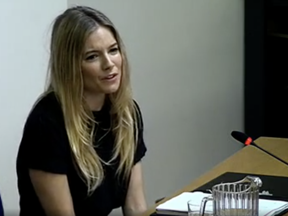 Courtroom drama: Sienna Miller giving evidence to part one of the Leveson Inquiry in November 2011 (c) Crown Copyright
