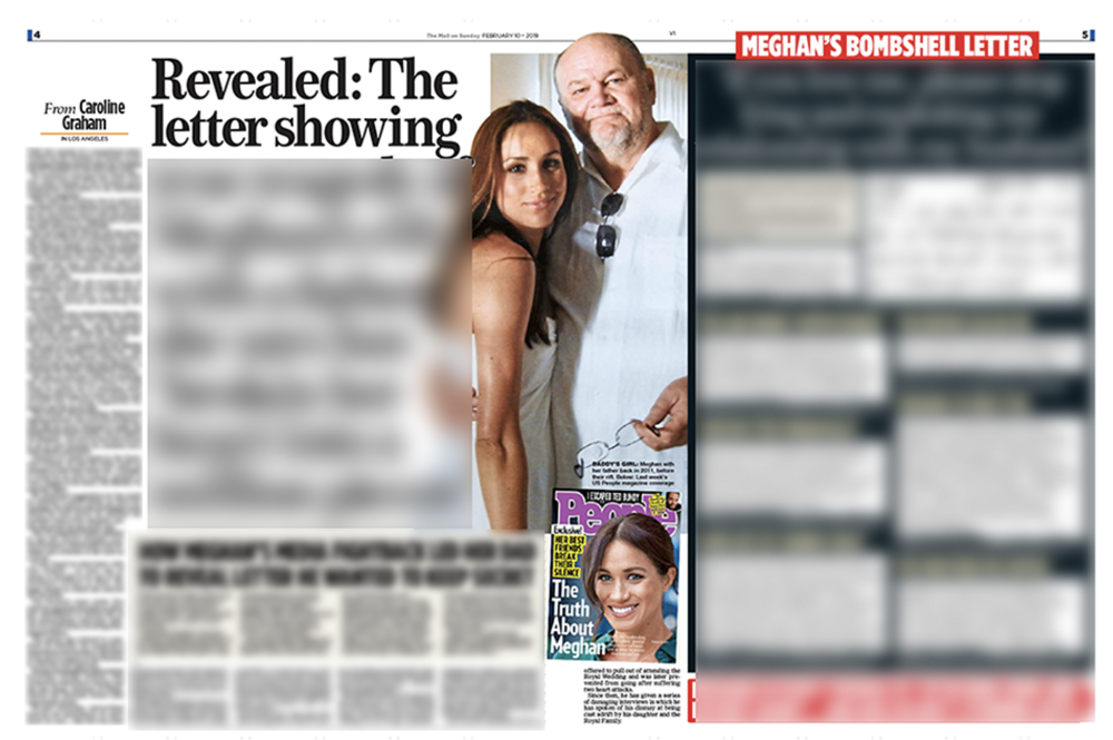 Letter of the law:  The  Mail on Sunday  article at the centre of the Duchess of Sussex's legal dispute with publishers Associated Newspapers Ltd