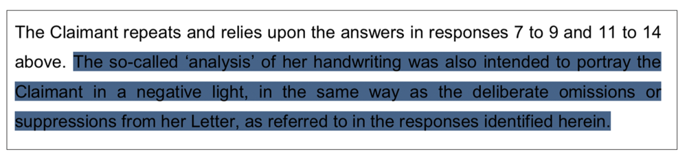 Negative: an extract from the Duchess's legal document about a handwriting 'analysis'
