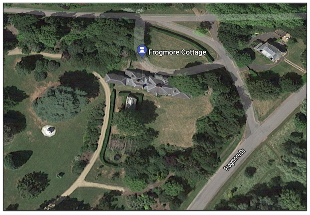 Frogmore Cottage, the Duke and Duchess's home, near Windsor, seen by satellite. (c) Google Maps