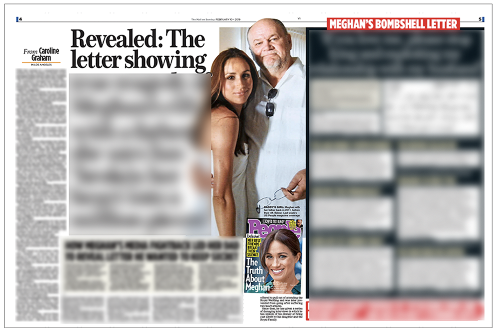 Offending article - the  Mail on Sunday  story that started a legal battle by publishing a private letter between daughter and father.