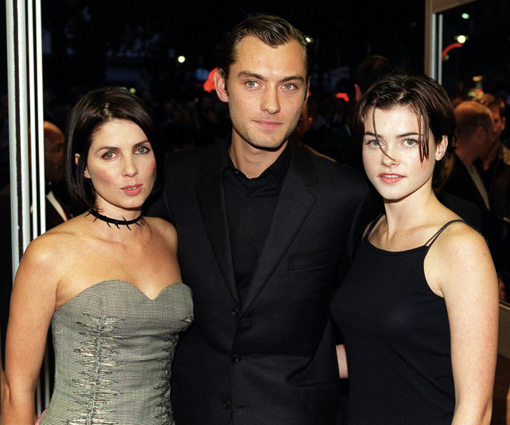Targeted: actress Sadie Frost (left), Jude Law, and Holly Davidson, pictured in 1999 (c)