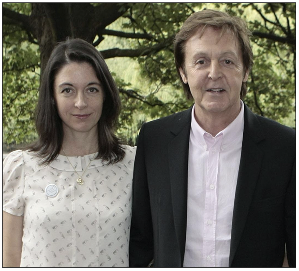 Target: Mary McCartney, pictured here with her father, Beatles legend Sir Paul McCartney, whose other daughter Heather McCartney was also targeted by Ms Nicholl