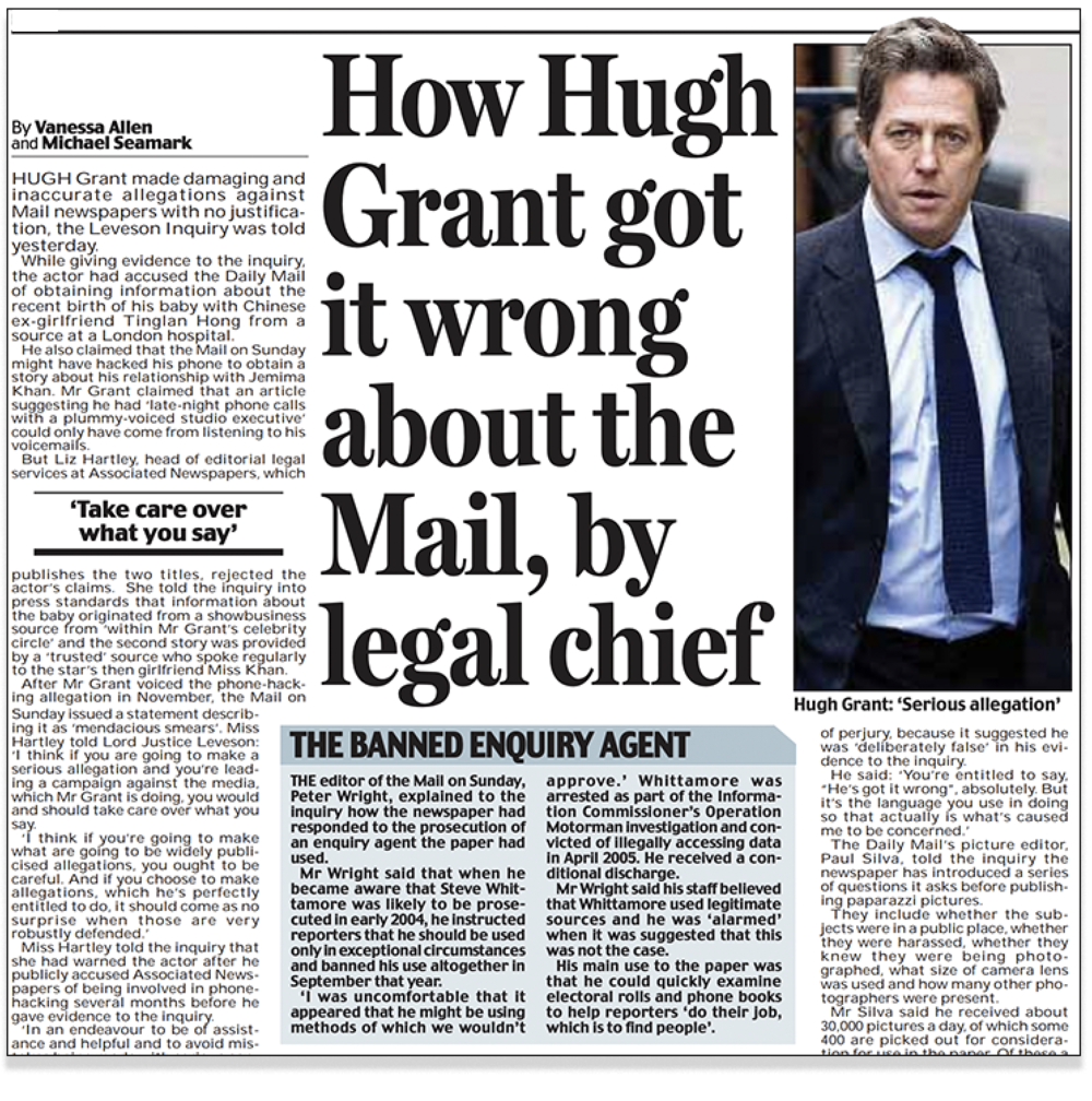 Defensive: Paul Dacre's  Daily Mail  devoted pages of column inches to denying Hugh Grant's allegation