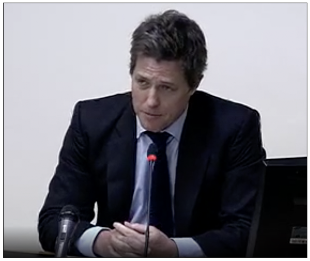 Allegation: Hugh Grant told the Leveson Inquiry that he believed a story in the  Daily Mail  about him had been derived from phone hacking