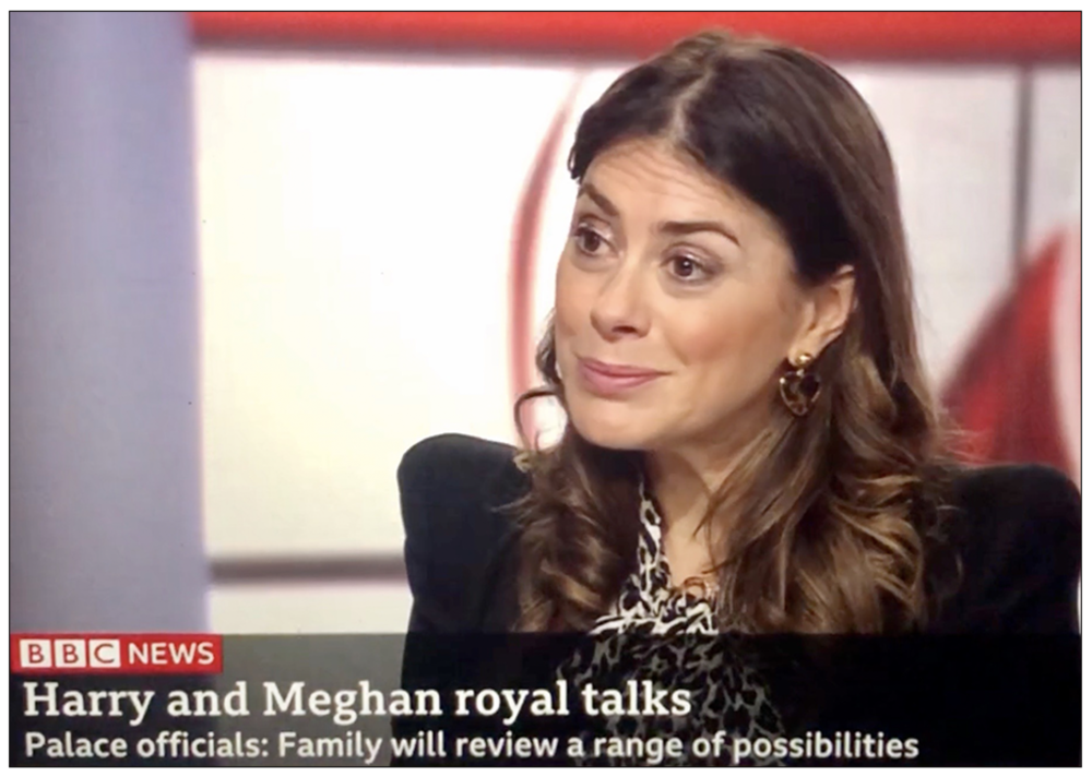Katie Nicholl on the BBC News Channel discussing Prince Harry and Meghan Markle's problems with Press intrusion