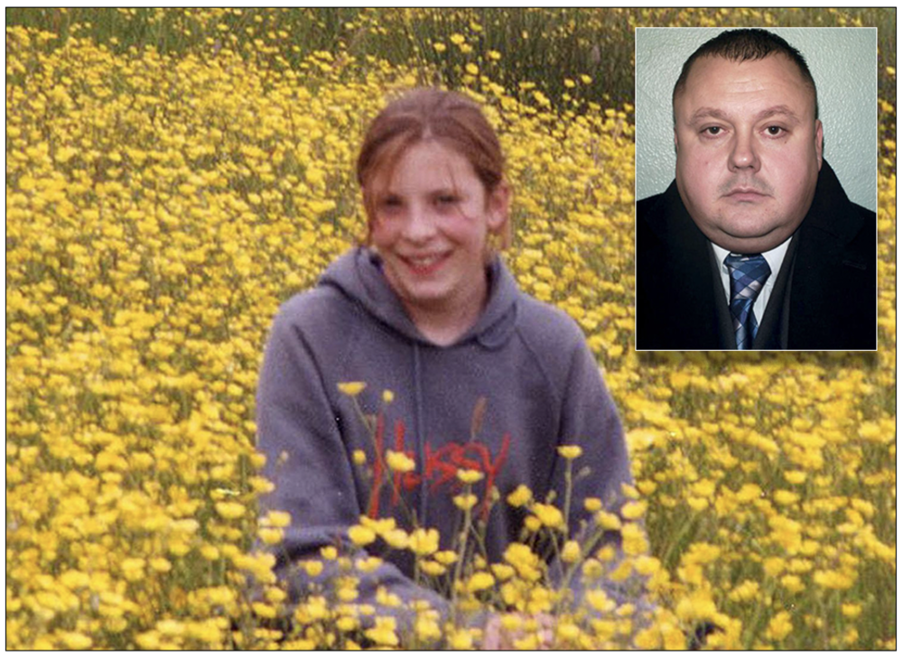 Murdered: Milly Dowler in a field of flowers (inset, serial killer Levi Bellfield) (c) PA