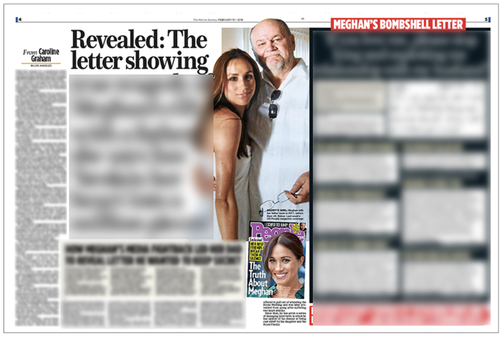 Offending article: How the  Mail on Sunday  published Meghan Markle's letter to father Thomas. We are protecting the disputed parts