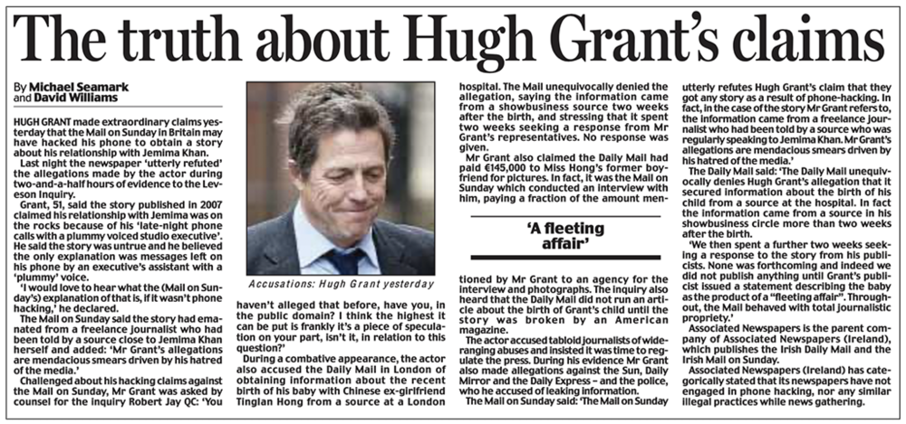Attack as defence: Mr Dacre's Daily Mail went on the offensive over Hugh Grant's inquiry evidence