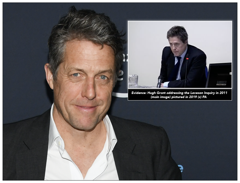 Targeted: Hugh Grant (c) PA; (inset, giving evidence to the Leveson Inquiry)