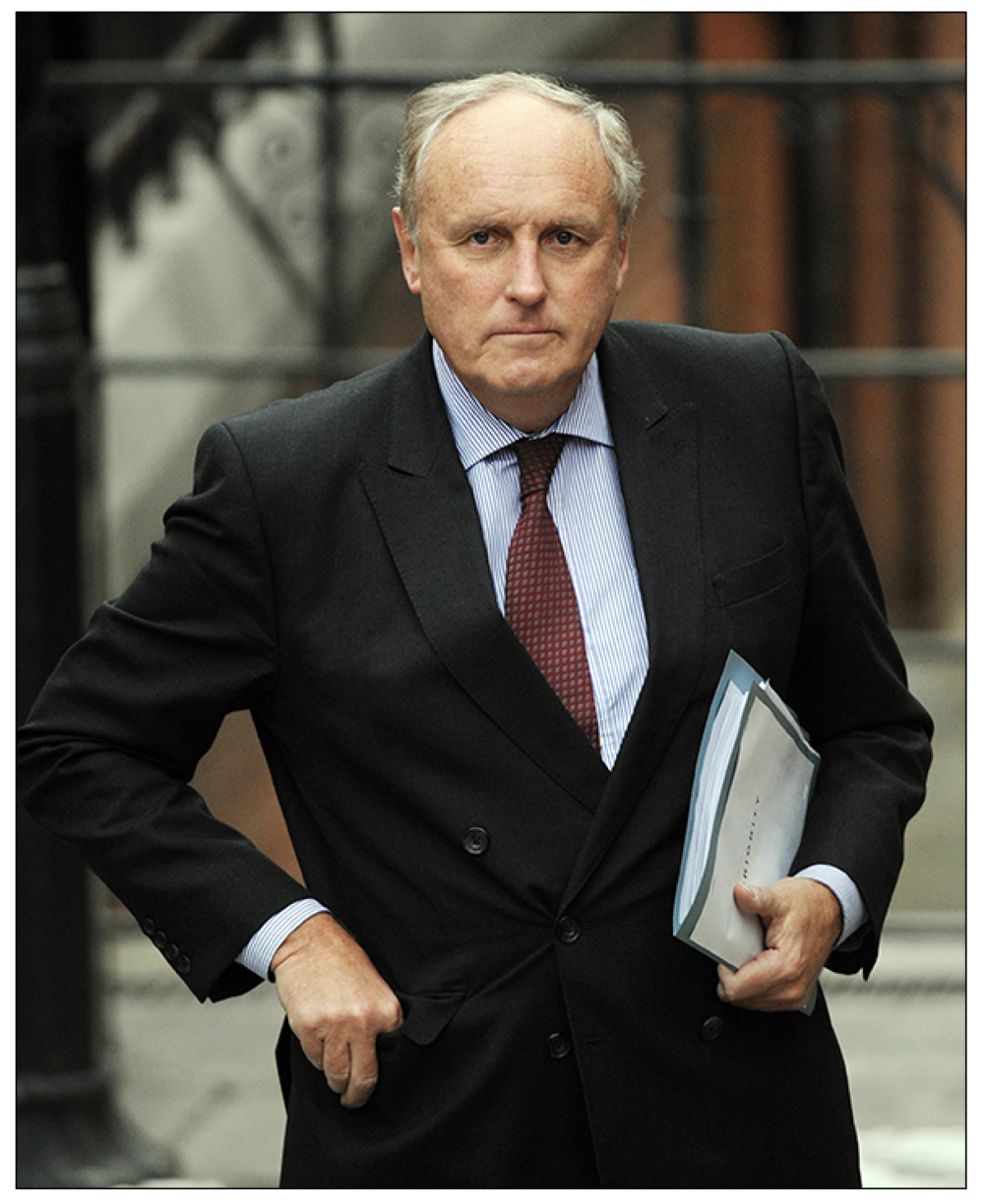 Defensive: Paul Dacre, editor-in-chief of the  Daily Mail  and  Mail on Sunday  and Chairman of Associated Newspapers at the Leveson Inquiry of 2012, at which he attacked Hugh Grant for his suggestion that a story describing his phone activities may have been unlawfully obtained (c) PA