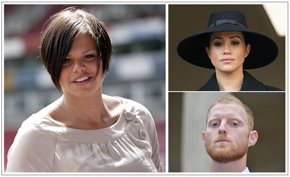 Tabloid targets: Jade Goody (l), Meghan Markle (top), and Ben Stokes (bottom) (C) Creative Commons/ PA