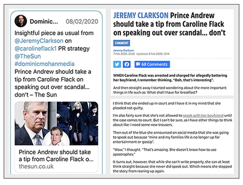 Tweet: Dominic Mohan endorsing Jeremy Clarkson's remarks about Caroline Flack's grammar in her final Instagram message