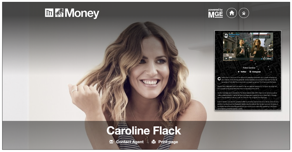 Unmoved: Caroline's management company  Money Management continued to advertise her on its website , including invitations to follow her social media, as this story was being published, four days after the announcement of her death (c) Money Management