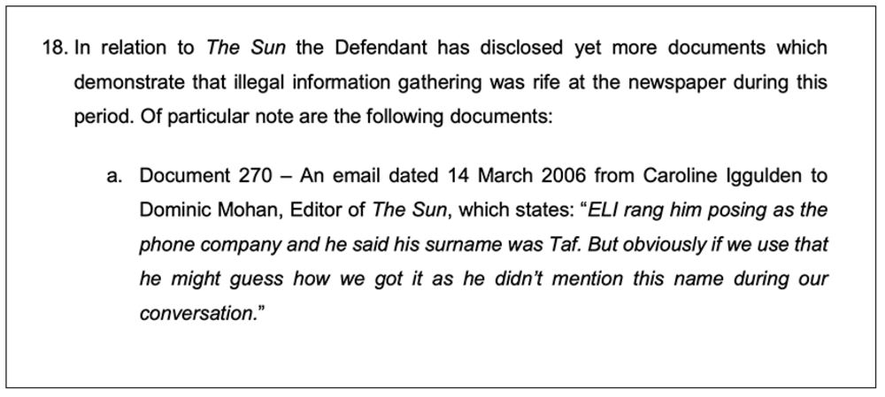 Court document: This skeleton argument deployed in June 2017 at the High Court in London alleges Mr Mohan knew of unlawful news-gathering, which he  later denied at the first part of Leveson Inquiry