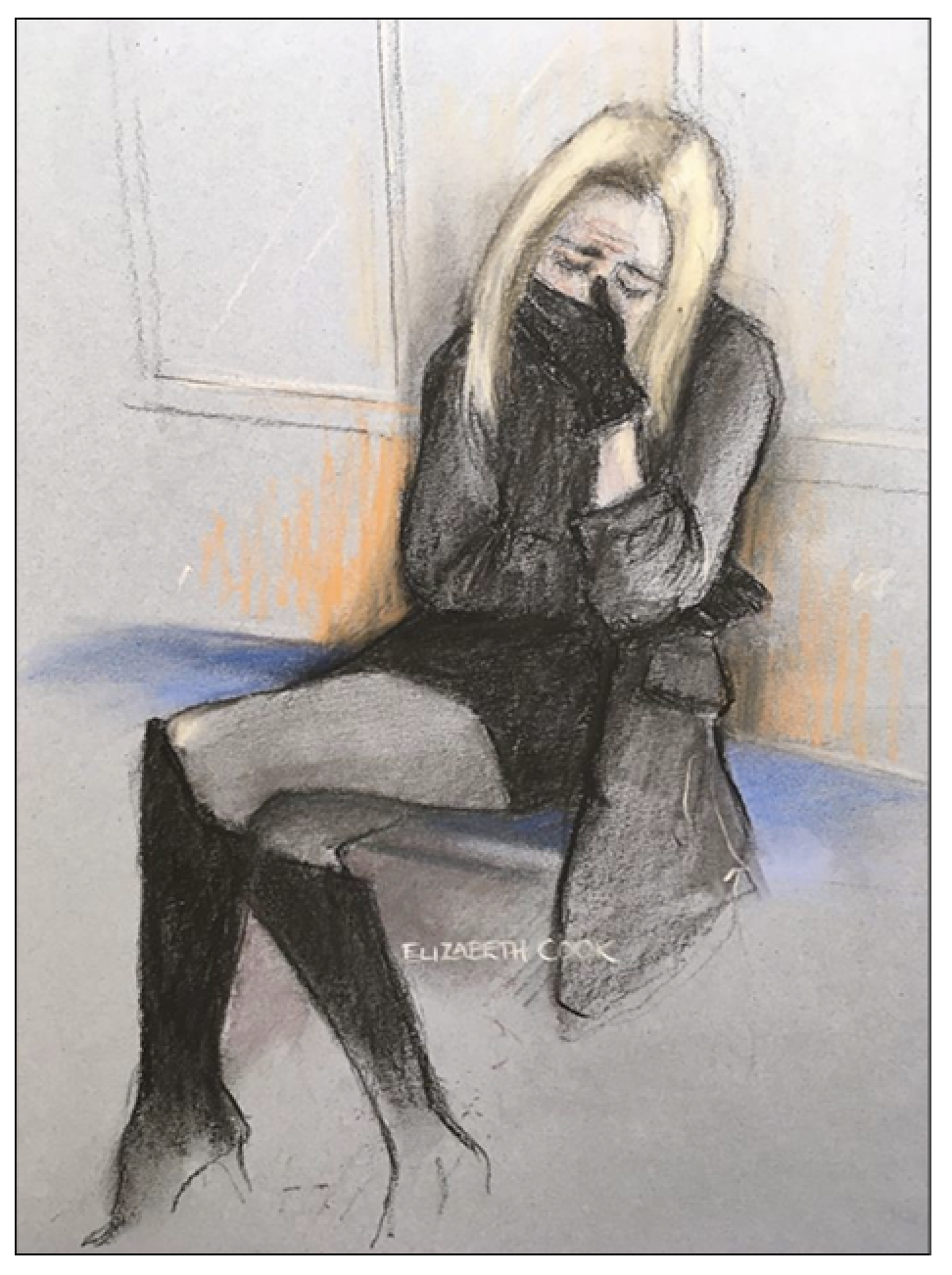 Anguish:  Court artist Elizabeth Cook captures Ms Flack's emotional state during her appearance at Highbury Magistrates' Court on December 23, 2019 (c) Elizabeth Cook/ Creative Commons