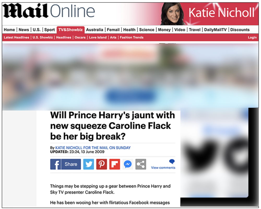 Suspect:  Second Katie Nicholl article refers to Prince Harry and Caroline Flack's private communications