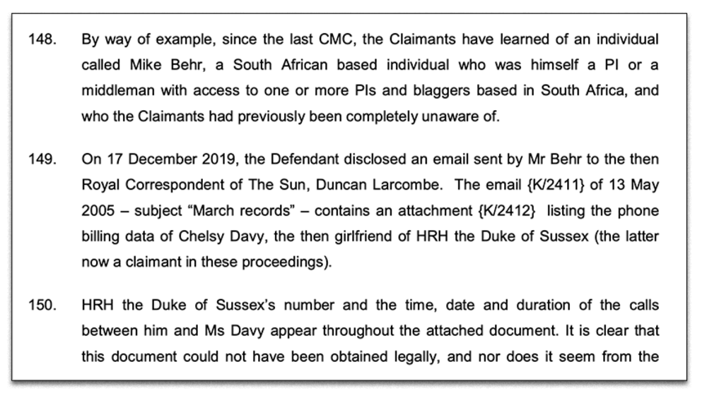 Excerpt:  Legal document addresses alleged Prince Harry snooping