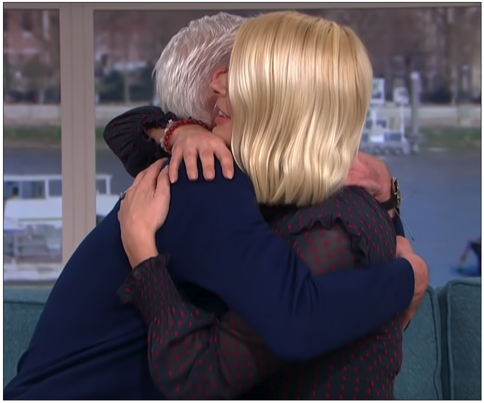 Emotional:  Phillip Schofield embracing  This Morning  co-host Holly Willoughby after coming out as gay on live television