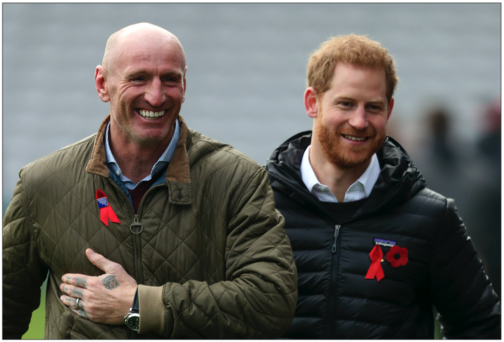 Backlash:  Duke of Sussex Prince Harry (right) attending a Terrence Higgins Trust event with former Wales rugby captain Gareth Thomas (left) at the Stoop, Twickenham, ahead of National HIV Testing Week. Welsh rugby star Gareth Thomas has told the Duke of Sussex his success on the pitch will fade in years to come but his lasting legacy will be raising awareness about HIV. The Sun newspaper faced a backlash for the way it tried to force Mr Thomas to reveal his illness. Prince Harry is  suing  The Sun's  publishers News Group Newspapers for alleged phone hacking and Misuse of Private Information