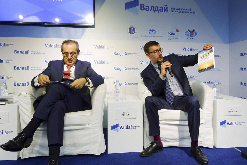 Joseph Mifsud (left) at a conference in Moscow in 2016