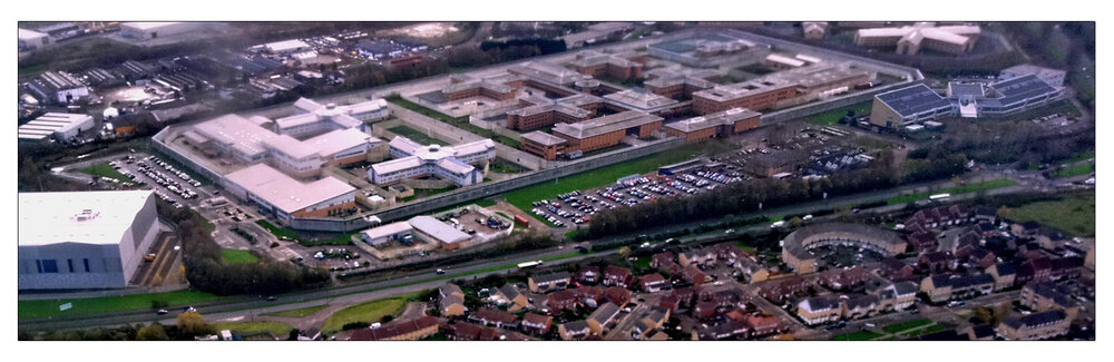 Aerial view of Belmarsh High Security prison in London (a) wikipedia