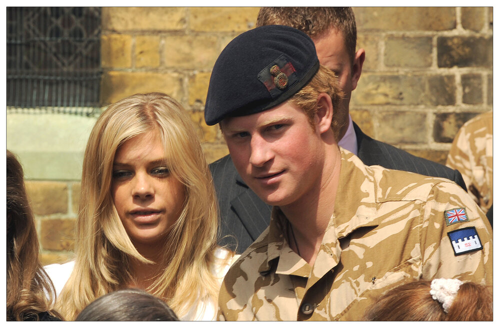 Prince Harry  and former girlfriend Chelsy Davy leave a service of Remembrance for those who have died in Afghanistan at the Army Garrison Church in Windsor in May 2008. (c) Anwar Hussein/EMPICS Entertainment